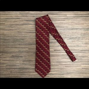 Oscar De La Renta Red & Gold Silk Tie